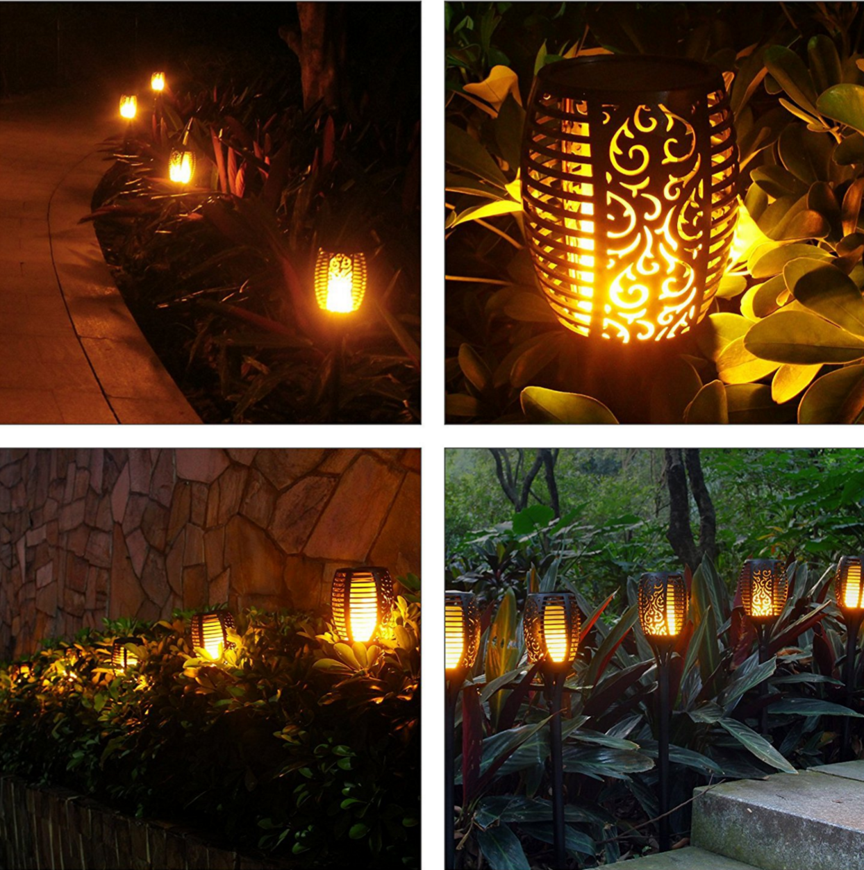 Solar Garden Light Solar Torch Lights Waterproof Flickering Flames Outdoor Solar Spotlights Landscape Decoration Lighting Dusk to Dawn Auto On/Off for Patio Deck Driveway