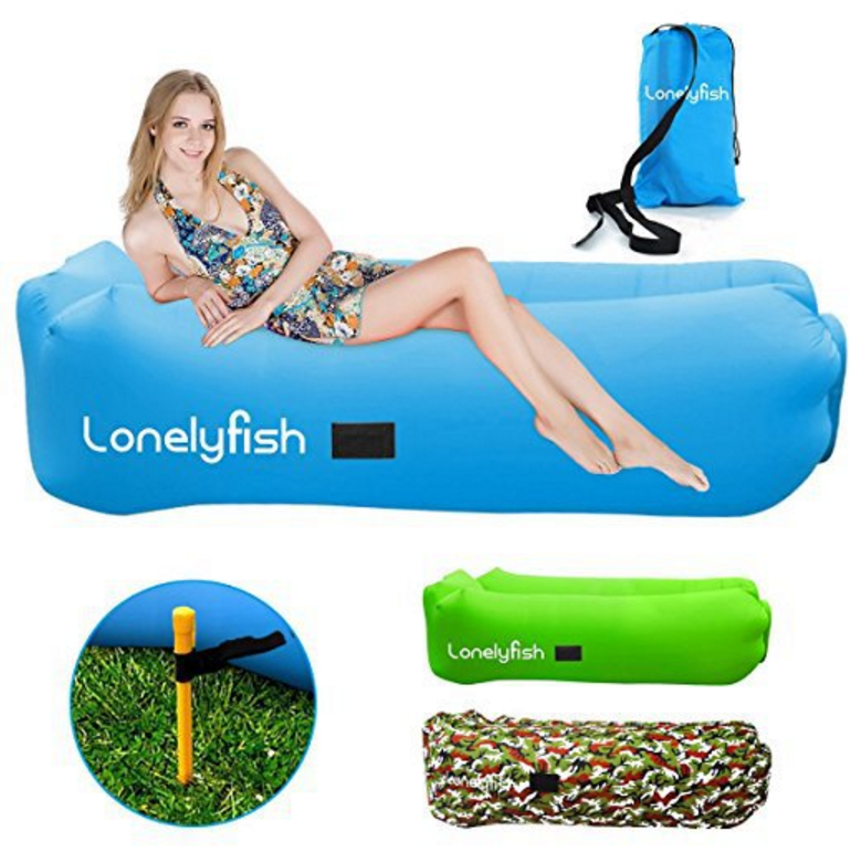 Inflatable Lounger Air Lounger Sofa with Securing Stake, Easy inflation and Anti-Air Leaking Design, Perfect for Outdoor Picnics Traveling Beach Park and Music Festivals