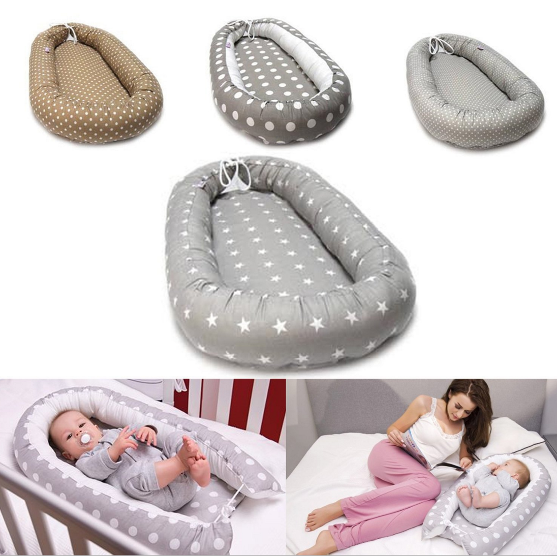 Double-sided Baby Nest for Newborn Baby Sleep Bed Portable Snuggle Nest Pod