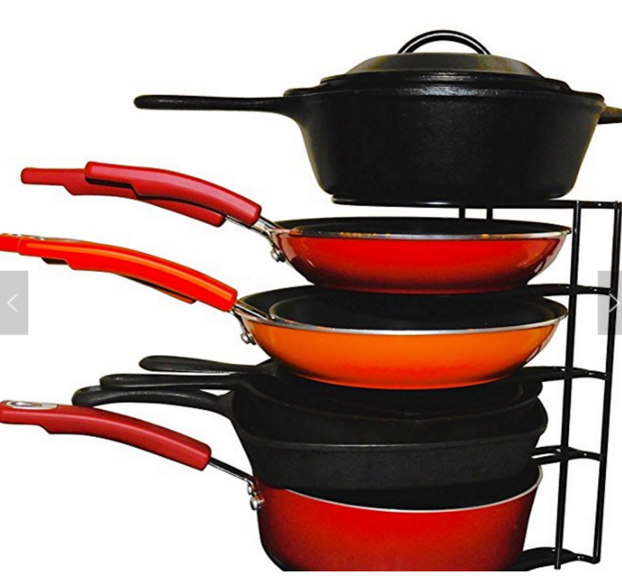 Cookware Rack Heavy Duty Pan Organizer - Bottom Tier 1 Inch Taller for Larger Pans - No Assembly Required
