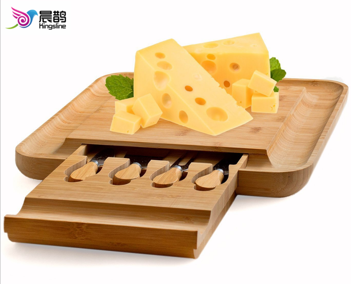 Bamboo Cheese Board Set with Hidden Slide Out Drawer - Cutlery Set Included (Drawer does not interrupt the use of the Cheese Board)