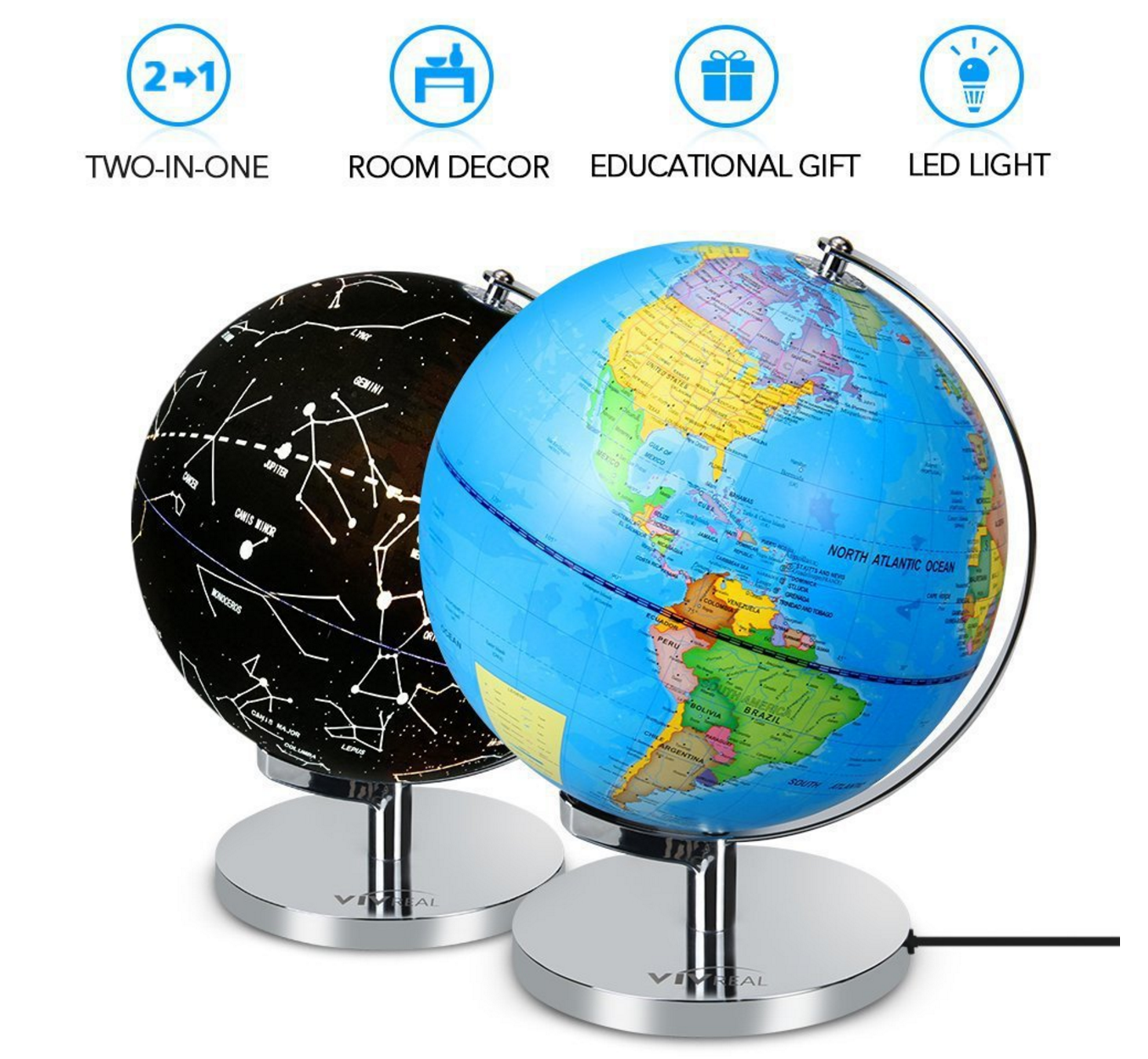 nteractive Globe for Kids, 2 in 1, Day View World Globe and Night View Illuminated Constellation Map